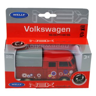 Welly Volkswagen VW T1 Double Cabin Pick Up rot Grafitties in Box 43603