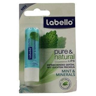 Beiersdorf Labello Lippenpflegestift pure & natural mint & minerals Farbe mint runde Kappe 5,5 ml