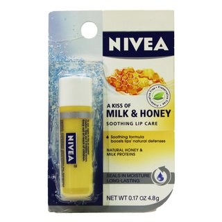 Beiersdorf Nivea (Labello) Lippenpflegestift USA A Kiss of Milk & Honey Farbe gelb runde Kappe 5,5 ml